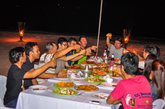 company dinner parties on the beach