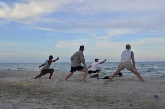 Thai chi on the beach